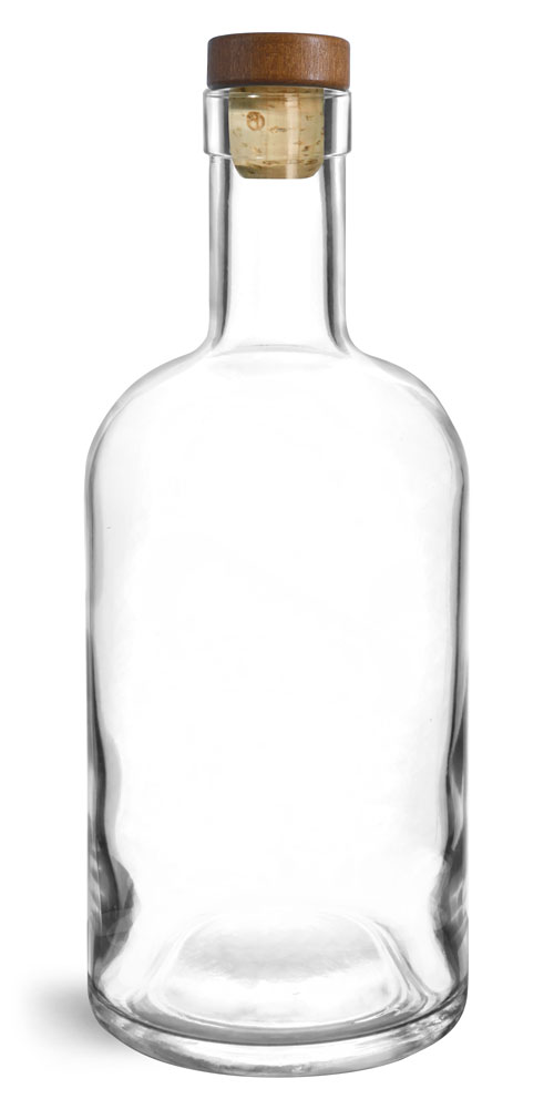 750 ml Glass Bottles, Clear Glass Bar Top Bottles w/ Stained Wood Bar Tops & Natural Corks