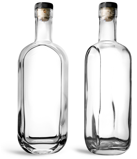 Glass Bottles, 750 ml Clear Glass London Bar Top Bottles w/ Black Ribbed Bar Tops & Natural Corks