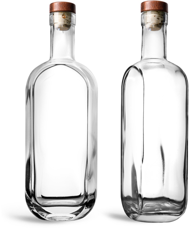 Glass Bottles, 750 ml Clear Glass London Bar Top Bottles w/ Stained Wood Bar Tops & Natural Corks