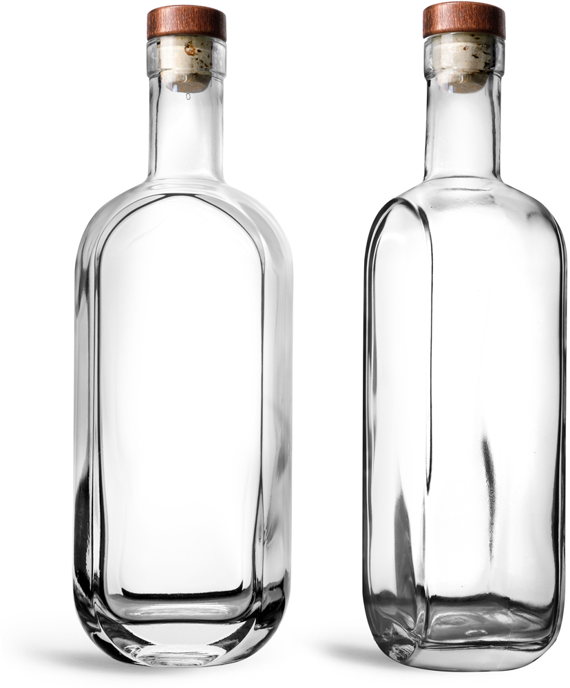 Clear Glass London Bar Top Bottles w/ Stained Wood Bar Tops & Natural Corks