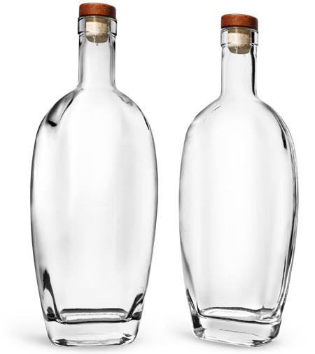 Glass Bottles, Clear Glass Westside Bar Top Bottles w/ Stained Wood Bar Tops & Natural Corks