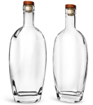 Clear Glass Westside Bar Top Bottles w/ Stained Wood Bar Tops & Natural Corks