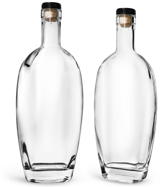 Glass Bottles, Clear Glass Westside Bar Top Bottles w/ Black Ribbed Bar Tops & Natural Corks