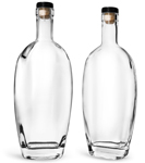 Clear Glass Westside Bar Top Bottles w/ Black Ribbed Bar Tops & Natural Corks