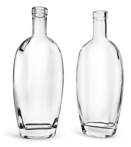Glass Bottles, Clear Glass Westside Bar Top Bottles (Bulk), Caps NOT Included