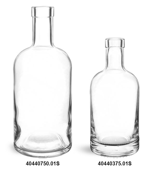 Glass Bottles, Clear Glass Bar Top Bottles (Bulk) Caps NOT Included
