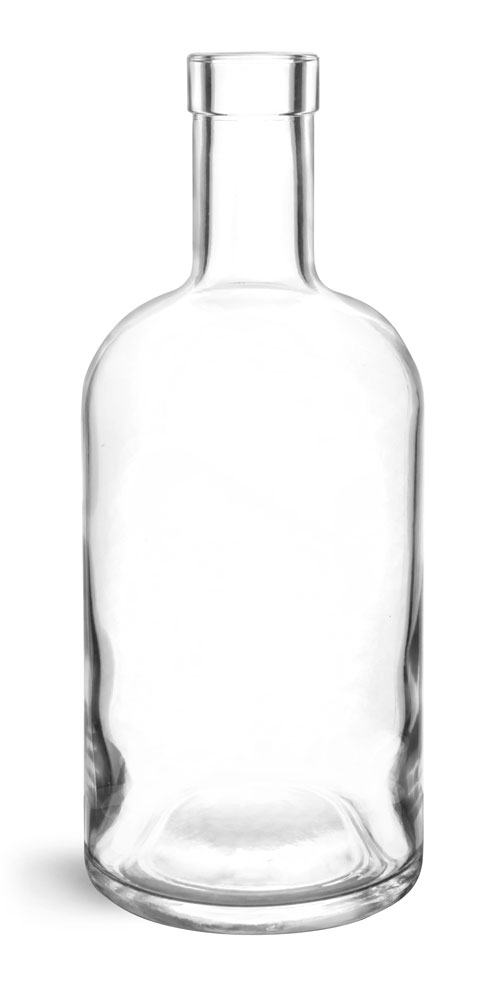 750 ml Glass Bottles, Clear Glass Bar Top Bottles (Bulk) Caps NOT Included