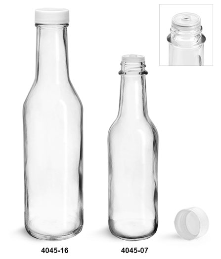 Glass Bottles, Clear Glass Woozy Bottles w/ White Ribbed Lined Caps & Orifice Reducers
