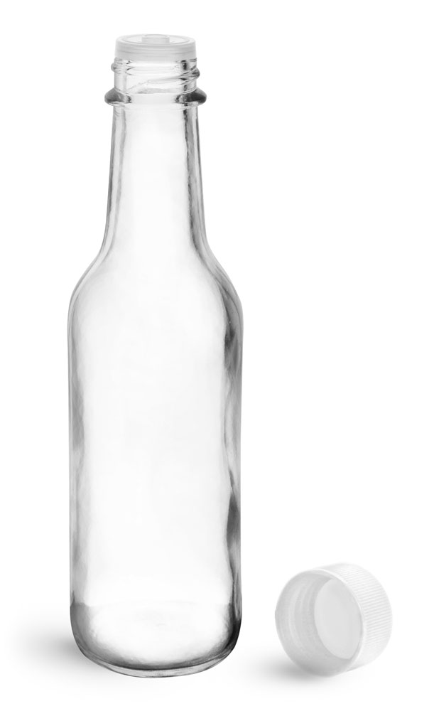 5 oz Clear Glass Sauce Bottles w/ White Ribbed Lined Caps & Orifice Reducers