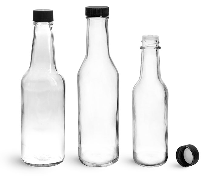 Glass Bottles, Clear Glass Woozy Bottles w/ Black Ribbed Lined Caps & Orifice Reducers