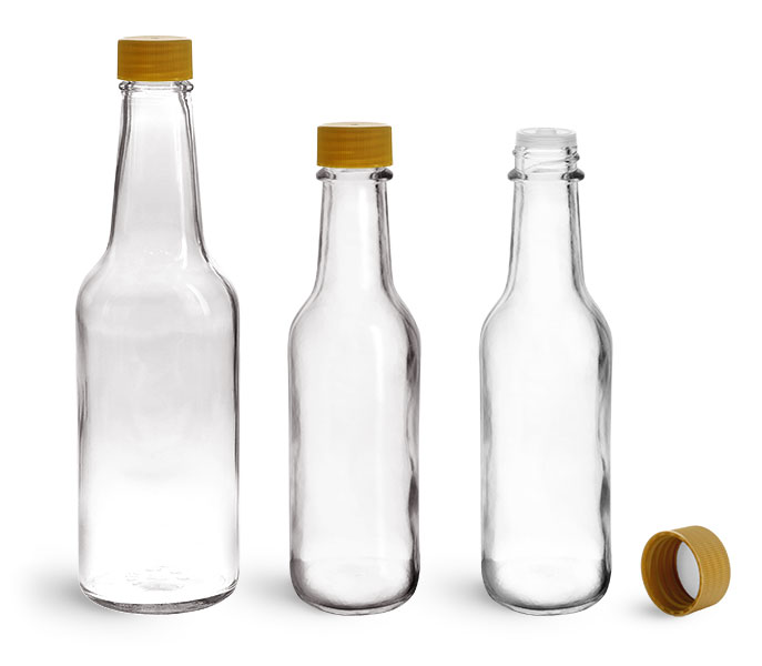 Glass Bottles, Clear Glass Woozy Bottles w/ Gold Ribbed Lined Caps & Orifice Reducers