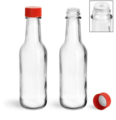 Glass Bottles, 5 oz Clear Glass Woozy Bottles w/ Red Ribbed Lined Caps & Orifice Reducers