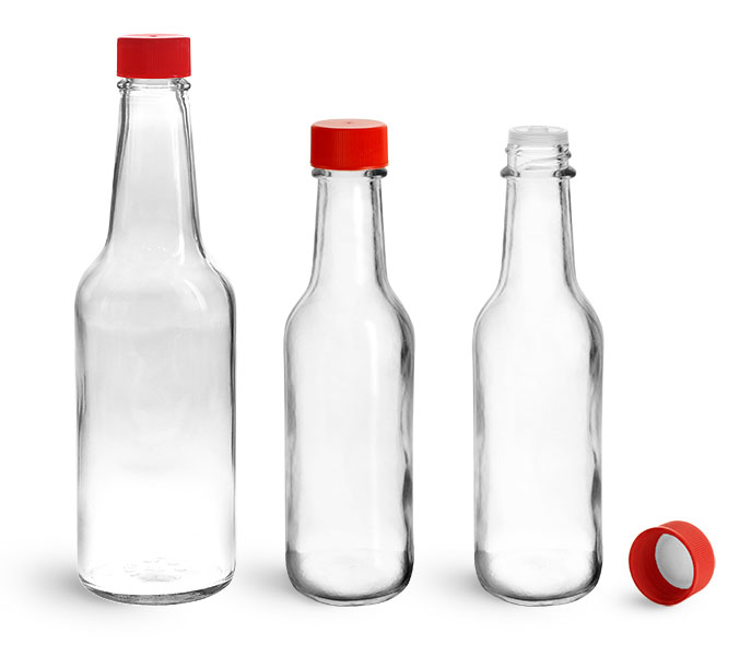 Glass Bottles, Clear Glass Woozy Bottles w/ Red Ribbed Lined Caps & Orifice Reducers