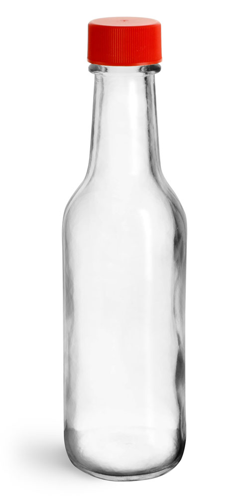 5 oz Clear Glass Sauce Bottles w/ Red Ribbed Lined Caps & Orifice Reducers