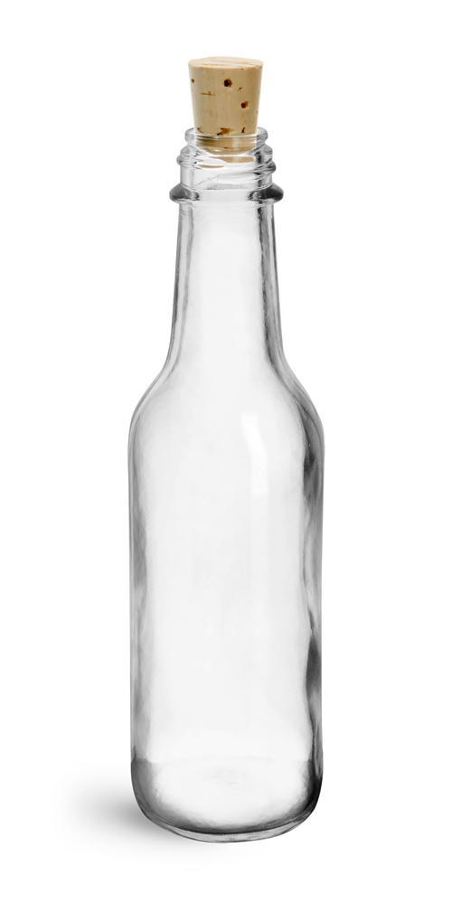 5 oz Clear Glass Sauce Bottles w/ Cork Stoppers