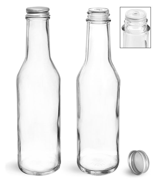 Glass Bottles, 8 oz Clear Glass Woozy Bottles w/ Lined Aluminum Caps & Orifice Reducers