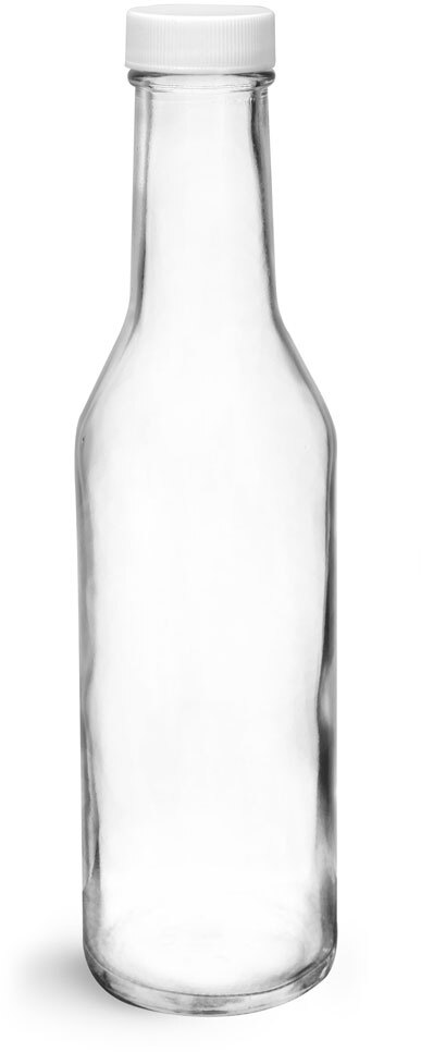 Clear Glass Sauce Bottles w/ White Ribbed Lined Caps & Orifice Reducers