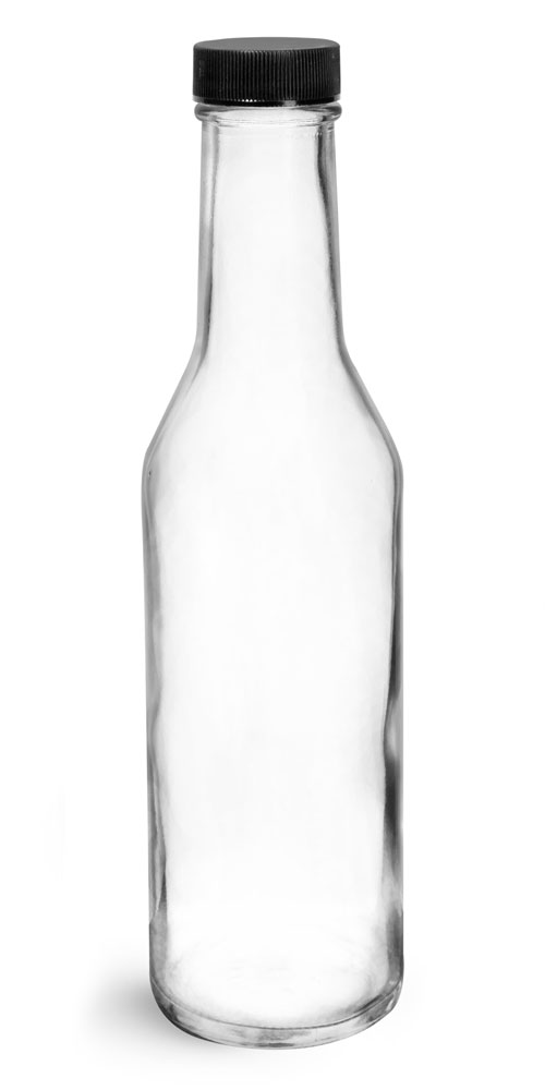 8 oz Clear Glass Sauce Bottles w/ Black Ribbed Lined Caps & Orifice Reducers