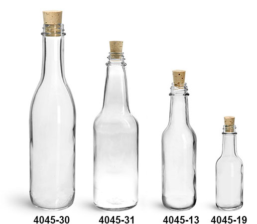 Glass Bottles, Clear Glass Woozy  Bottles w/ Cork Stoppers