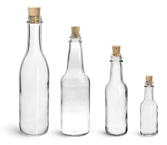 Glass Bottles, Clear Glass Woozy Bottles w/ Cork Stoppers