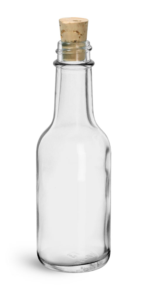 1.7 oz Clear Glass Sauce Bottle w/ Cork Stoppers