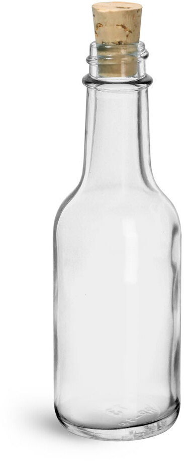 Clear Glass Sauce Bottle w/ Cork Stoppers