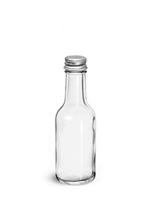 Glass Bottles, Clear Glass Woozy Bottle w/ PE Lined Aluminum Caps