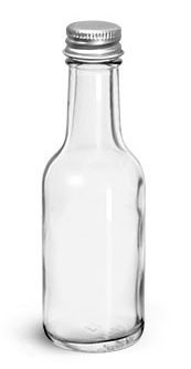Glass Bottles, Clear Glass Woozy Bottle w/ PE Lined Aluminum Caps