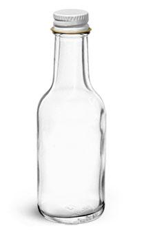 Glass Bottles, 1.7 oz Clear Glass Woozy Bottle w/ White Metal Foil Lined Caps
