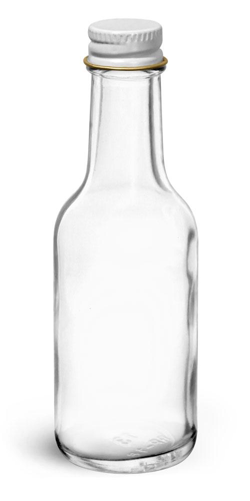1.7 oz Glass Bottles, Clear Glass Woozy Bottle w/ White Metal Foil Lined Caps