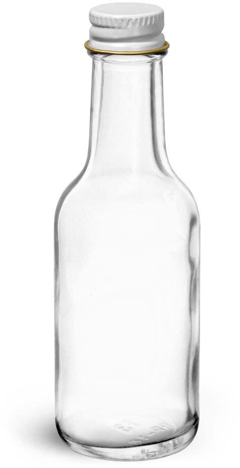 Glass Bottles, Clear Glass Woozy Bottle w/ White Metal Foil Lined Caps