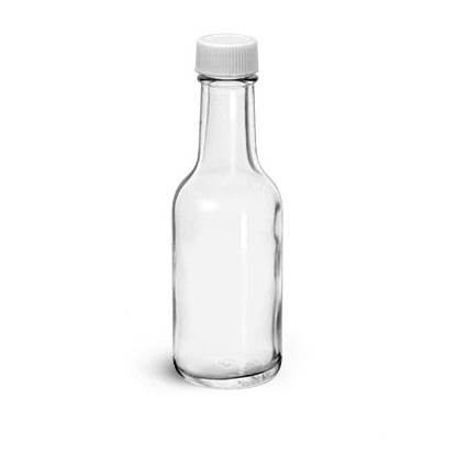Glass Bottles, Clear Glass Woozy Bottle w/ White Ribbed PE Lined Caps
