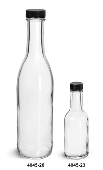 Glass Bottles, Clear Glass Woozy Bottle w/ Black Ribbed Lined Caps