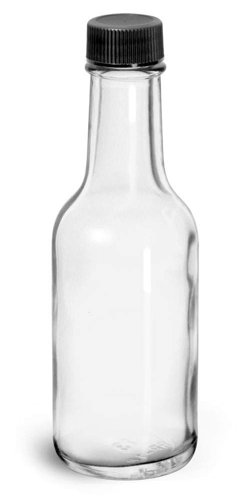 1.7 oz Glass Bottles, Clear Glass Woozy Bottle w/ Black Ribbed Lined Caps