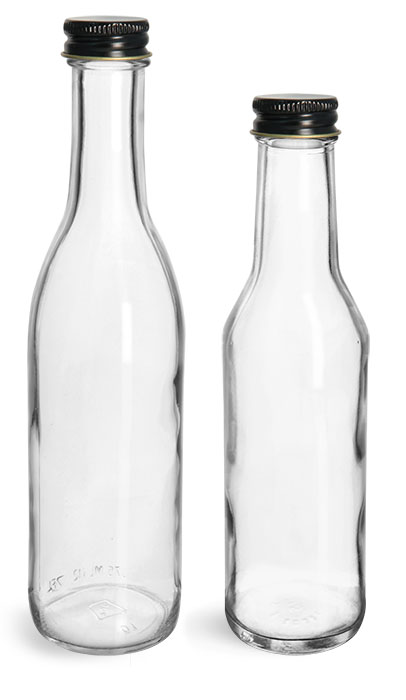 Clear Glass Woozy Bottles w/ Black Metal Plastisol Lined Caps