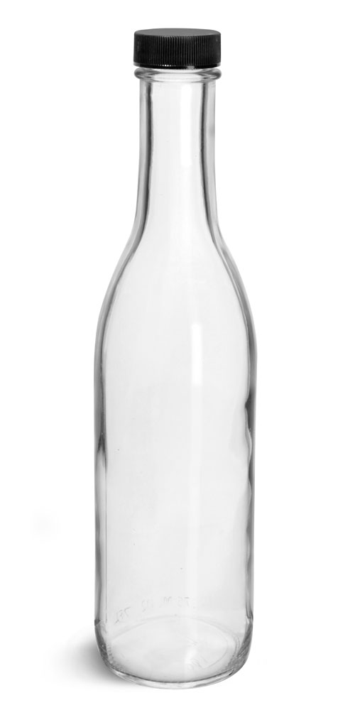 12 oz Glass Bottles, Clear Glass Woozy Bottle w/ Black Ribbed Lined Caps