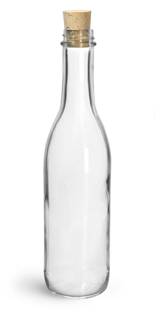 12 oz Clear Glass Woozy Bottle w/ Cork Stoppers