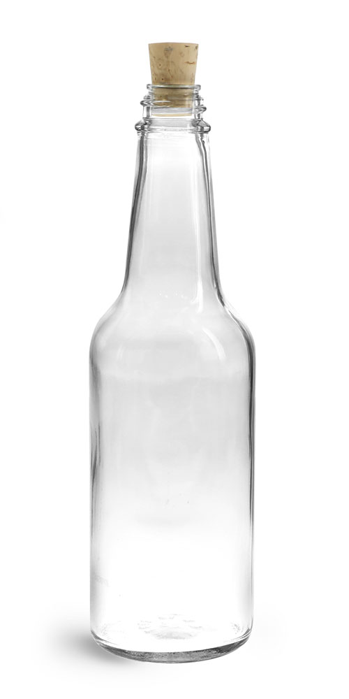 10 oz Clear Glass Sauce Bottles w/ Cork Stoppers