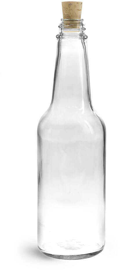 Clear Glass Sauce Bottles w/ Cork Stoppers