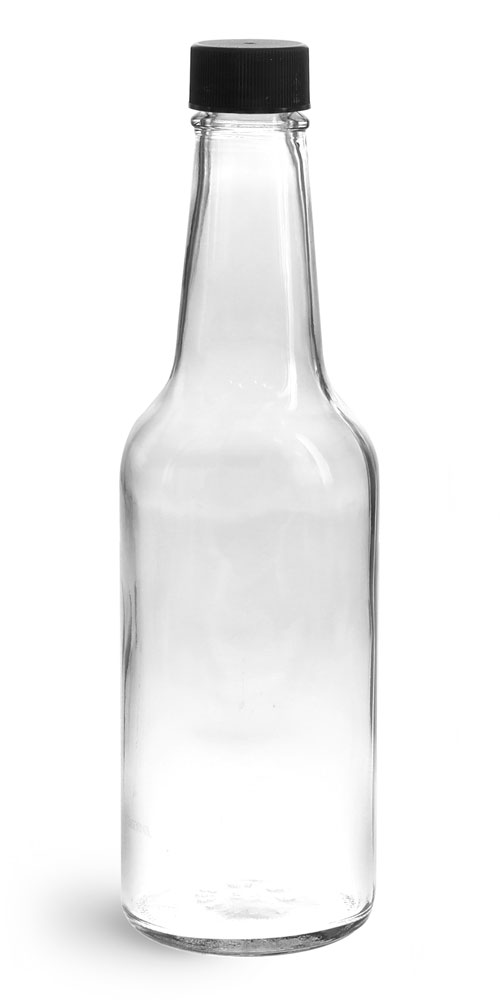 10 oz Clear Glass Sauce Bottles w/ Black Ribbed Lined Caps & Orifice Reducers