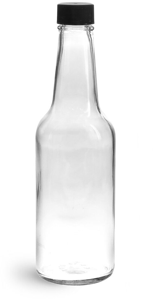 Clear Glass Sauce Bottles w/ Black Ribbed Lined Caps & Orifice Reducers