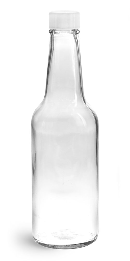 10 oz Clear Glass Sauce Bottles w/ White Ribbed Lined Caps & Orifice Reducers