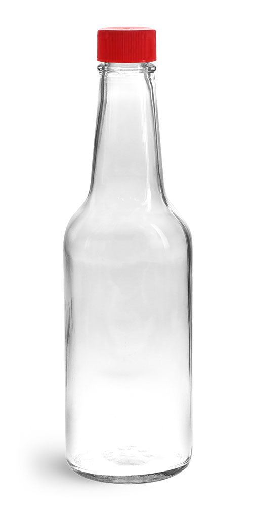 10 oz Clear Glass Sauce Bottles w/ Red Ribbed Lined Caps & Orifice Reducers
