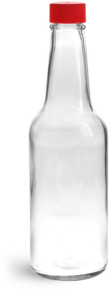 Clear Glass Sauce Bottles w/ Red Ribbed Lined Caps & Orifice Reducers