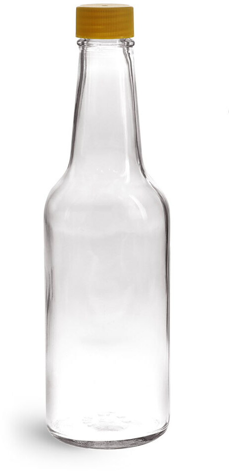 Clear Glass Sauce Bottles w/ Gold Ribbed Lined Caps & Orifice Reducers
