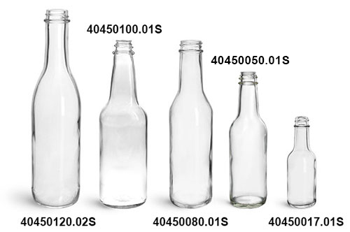 Glass Bottles, Clear Glass Woozy Bottles (Bulk) Caps NOT Included