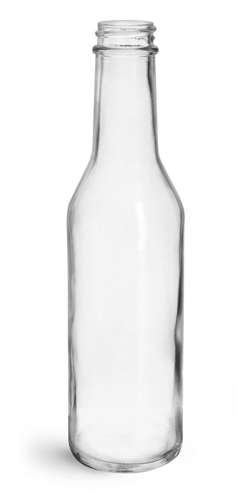 8 oz Clear Glass Woozy Bottles (Bulk), Caps NOT Included