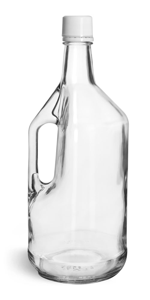 1.75 Liter Glass Bottles, Clear Glass Bottles w/ Handles and White Tamper Evident Closures w/ Pouring Inserts