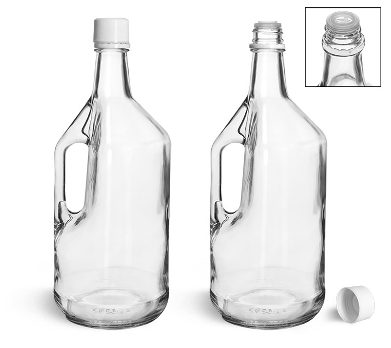 Glass Bottles, Clear Glass Bottles w/ Handles and White Tamper Evident Closures w/ Pouring Inserts
