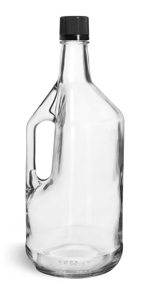 1.75 Liter Glass Bottles, Clear Glass Bottles w/ Handles and Black Tamper Evident Closures w/ Pouring Inserts